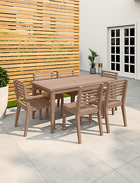 Melrose Natural Garden Table & Set of 6 Chairs
