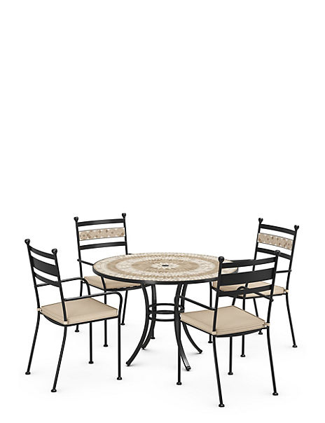 Madeira Mosaic Garden Table & Set of 4 Chairs