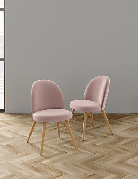 Set of 2 Pink Round Back Velvet Chairs