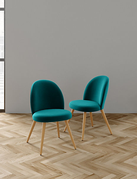 Set of 2 Teal Round Back Velvet Chairs
