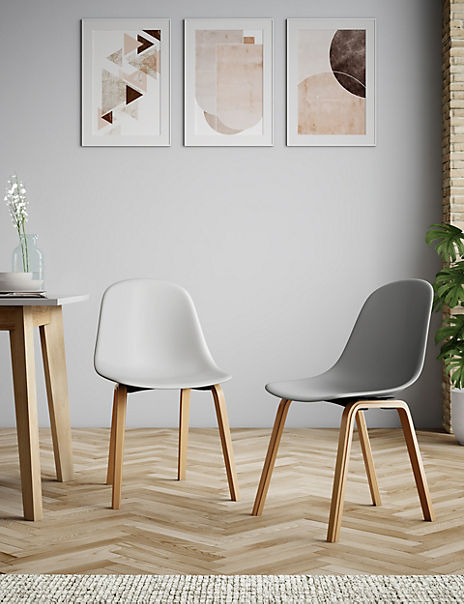 Set of 2 Grey Round Back Dining Chairs