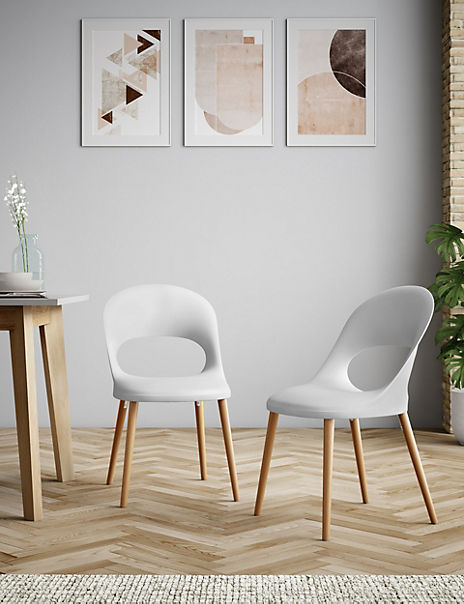 Set of 2 White Hole Back Dining Chairs