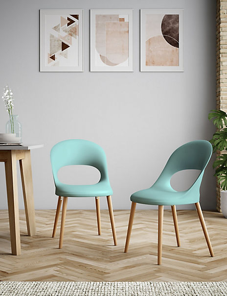 Set of 2 Teal Hole Back Dining Chairs