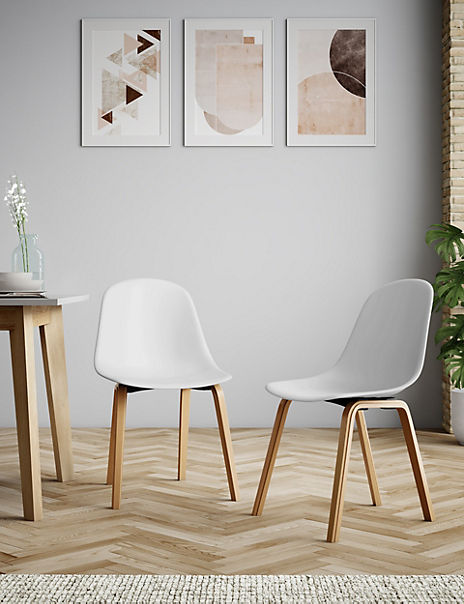 Set of 2 White Round Back Dining Chairs
