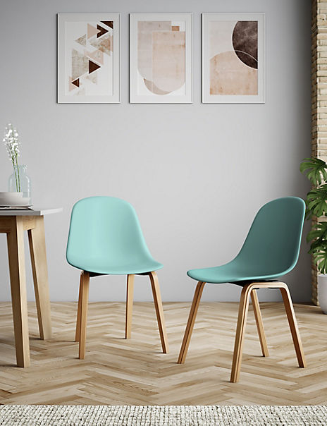 Set of 2 Teal Round Back Dining Chairs