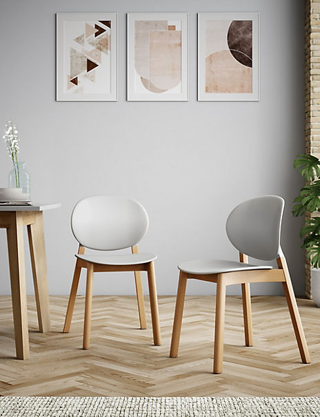 Set of 2 Grey Oval Back Dining Chairs