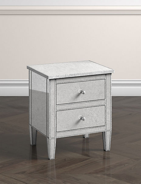Evelyn Bedside Table Silver