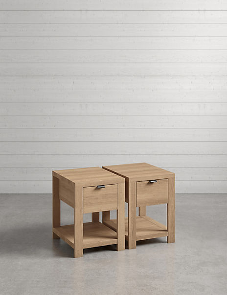 Set of 2 Arlo Natural Compact Bedside Tables