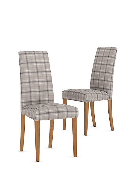 Set of 2 Denford Checked Grey Mix Dining Chair