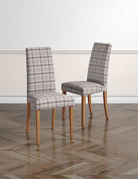Set of 2 Denford Checked Grey Mix Dining Chairs