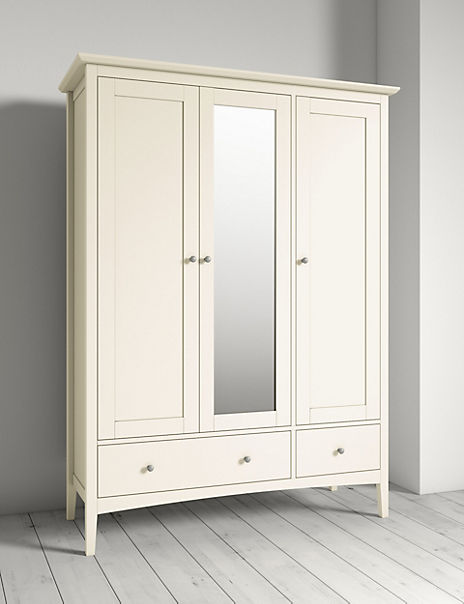 Hastings Ivory Triple Wardrobe with Mirror