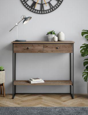 sanford parquet 2 drawer console table m s. Black Bedroom Furniture Sets. Home Design Ideas