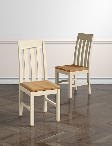 Set of 2 Padstow Dining Chairs Cream