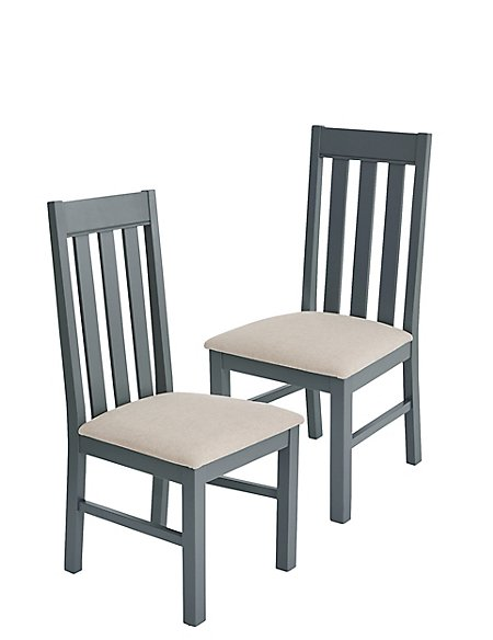 Set of 2 Padstow Grey Fabric Dining Chairs