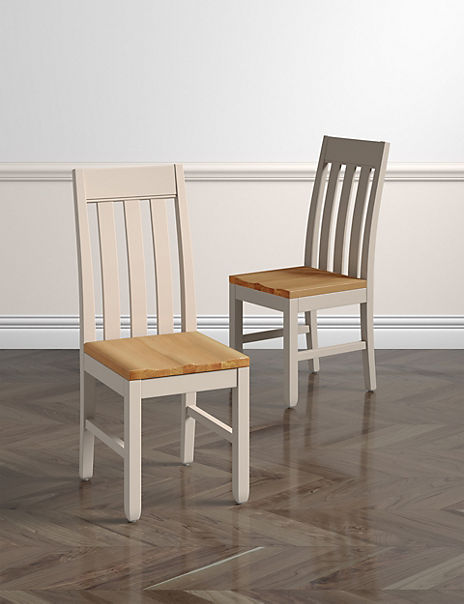 Set of 2 Padstow Slat-Back Dining Chairs