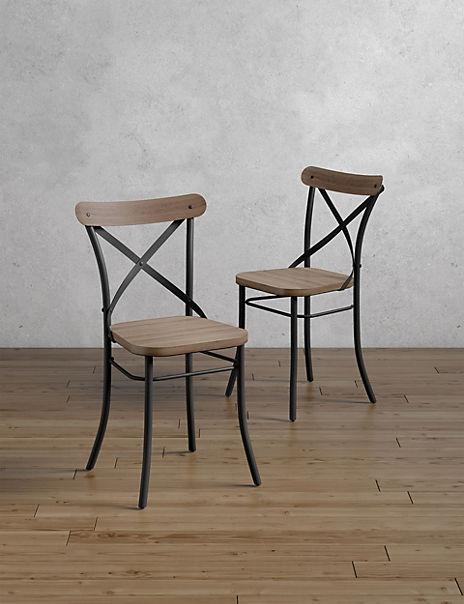 Set of 2 Sanford Parquet Dining Chairs