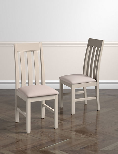 Set of 2 Padstow Putty Fabric Dining Chairs