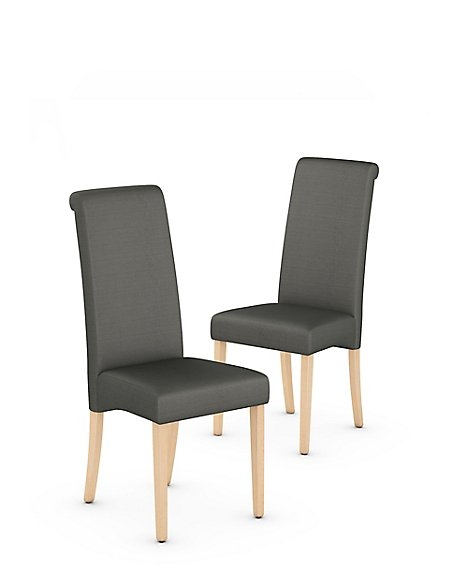 Set of 2 Scroll Back Dining Chairs