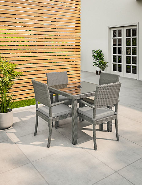 Marlow Grey Garden Table & Set of 4 Chairs