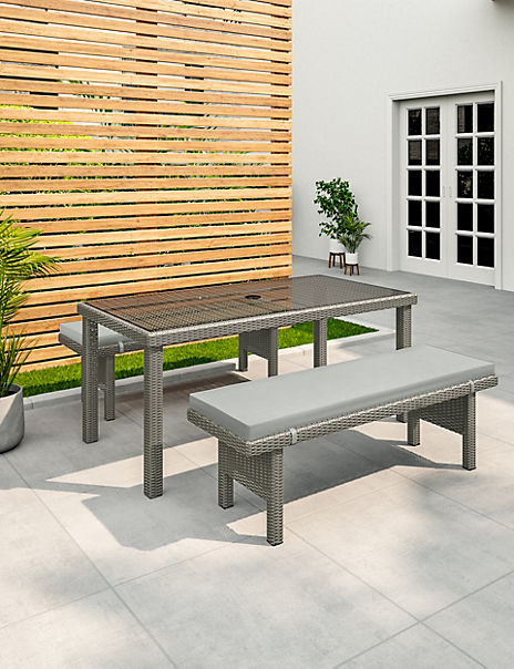 Marlow Grey Garden Table & Bench Set