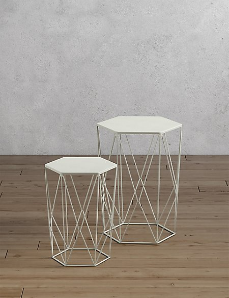 Wire Nest of Tables White