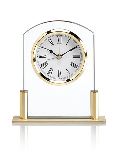 Mini Glass Mantel Clock with Alarm