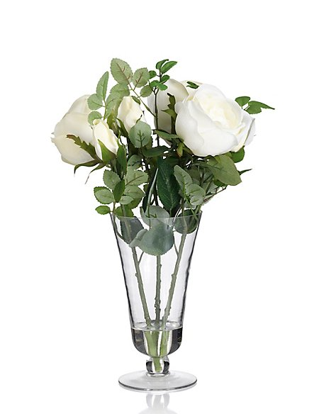 Artificial White Rose in Footed Vase