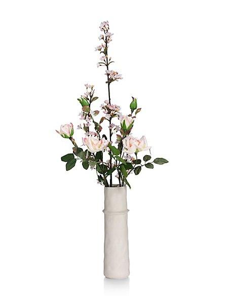 Artificial Cherry Blossom & Rose in Ceramic Vase
