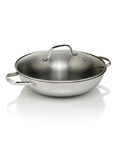 28cm Stainless Steel Shallow Wok