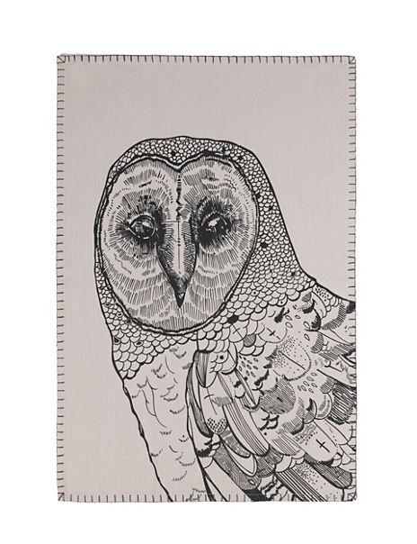 Nordic Owl Print Teal Towel