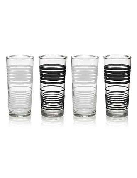 4 Striped Hi Ball Glasses