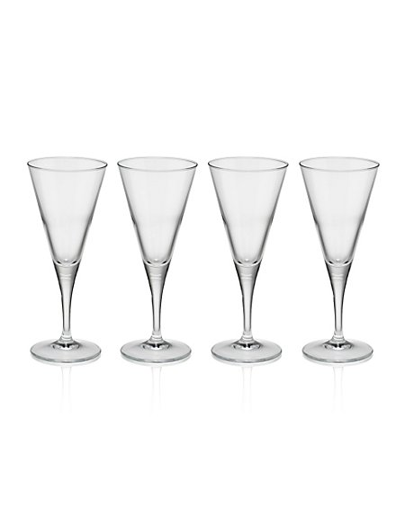 4 Valencia Flute Glasses