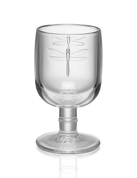 Pressed Dragonfly Wine Goblet