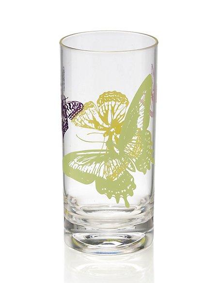 Butterfly Print Hi Ball Glass