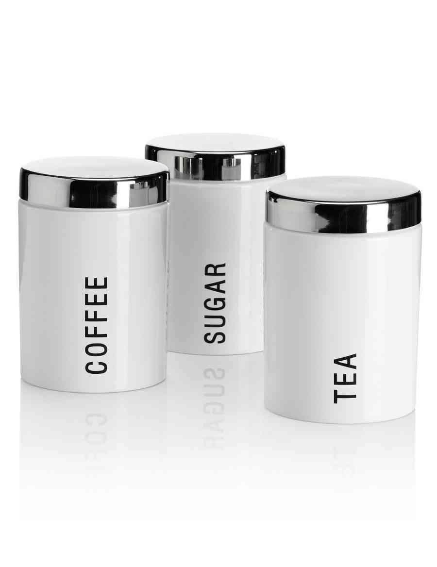 Modern Enamel Tea Coffee Sugar Jar Set