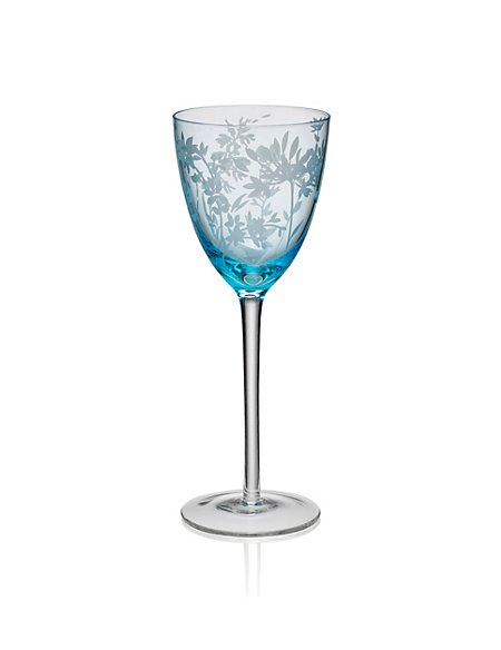 Spring Meadow Etched Wine Glass