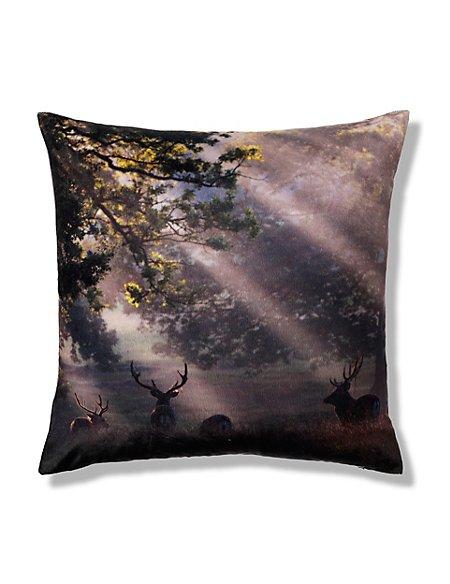 Velvet Stag Print Cushion