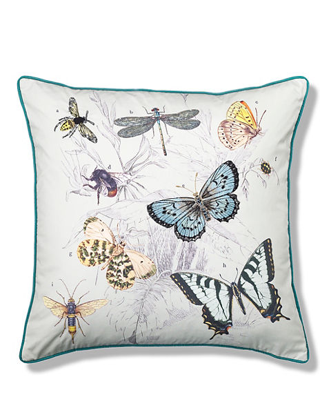 Embroidered Moth Cushion