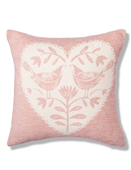 Chenille Love Bird Cushion