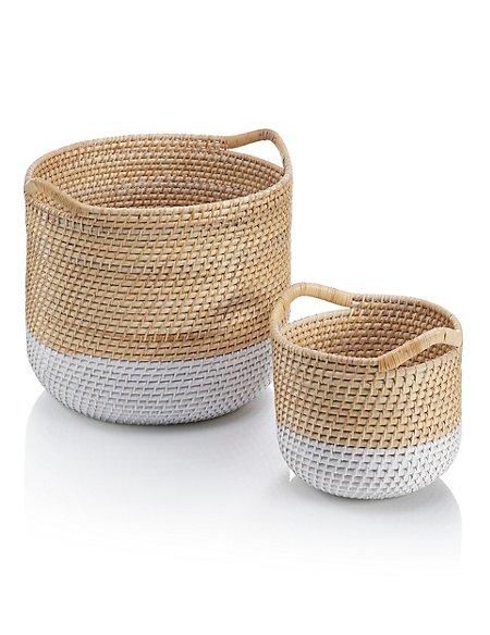 2 Round Weave Baskets