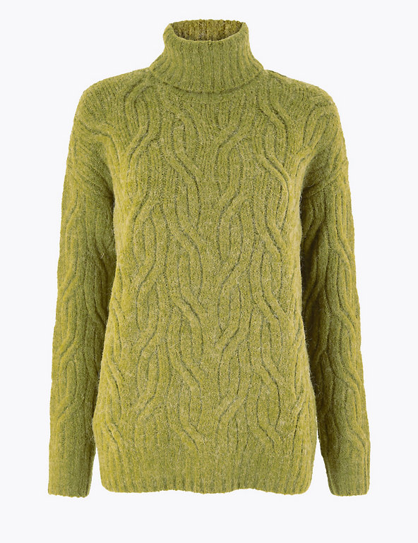 M/&S Marks Light Camel Ladies Roll Neck Fine Cable Knit Jumper With Wool 24 BNWT
