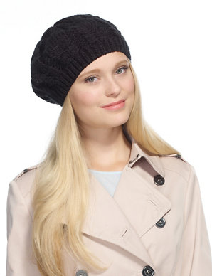 48878886 Cable Knit Soft Beret Hat | M&S Collection | M&S
