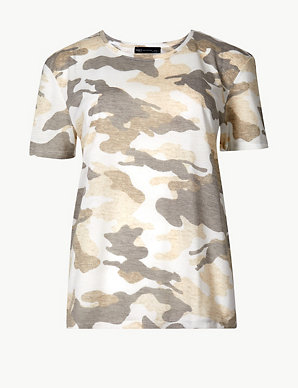 68732188 Camouflage Print Relaxed Fit T-Shirt | M&S Collection | M&S