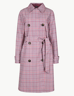 c8692501c5c1 Checked Double Breasted Trench Coat | M&S Collection | M&S
