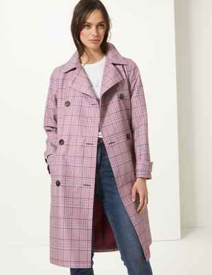 Checked Double Breasted Trench Coat M&S plus-size