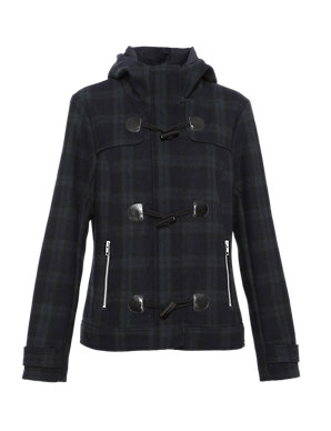 Duffle with Coat S Checked WoolIndigo CollectionM 08wOmnvN