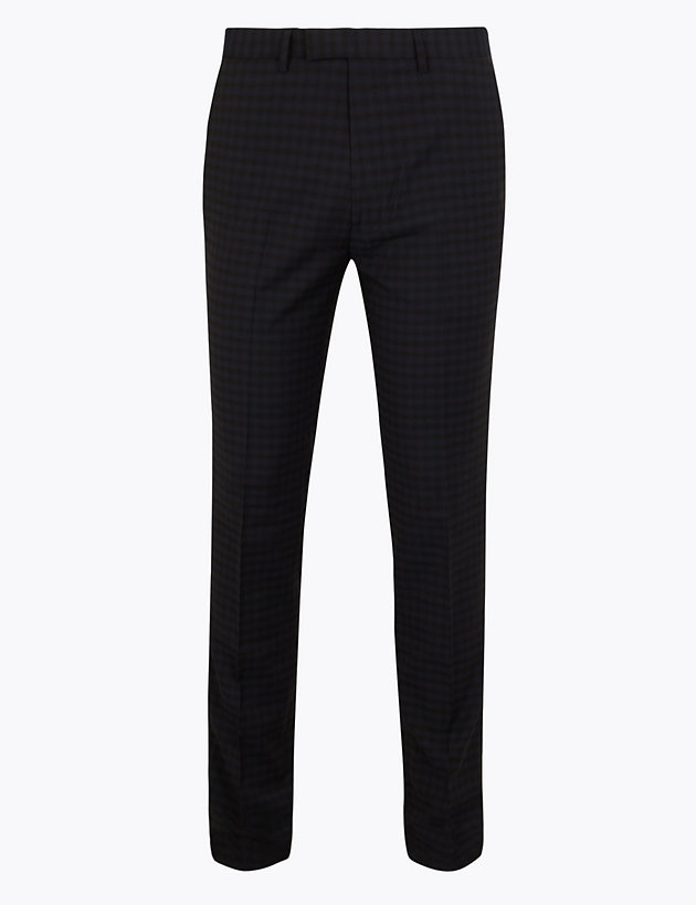 Checked Skinny Fit Trousers with Stretch