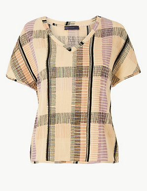 6bdf8bbd Checked V-Neck Short Sleeve Top | M&S Collection | M&S