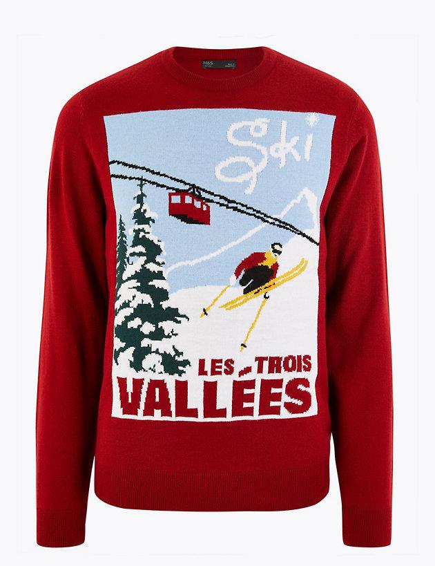 ColourfulMen Long Sleeve Crewneck Christmas Printed Fashionable Sweatshirt