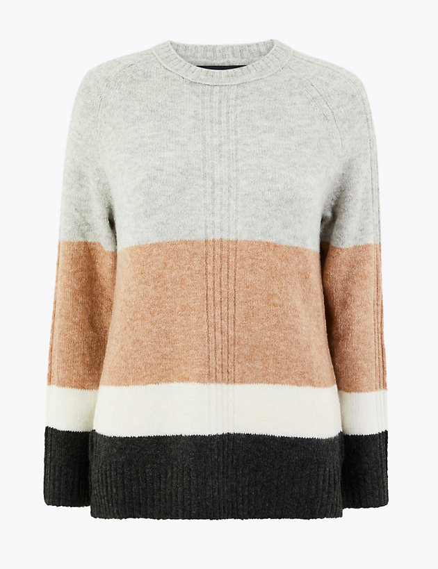 Colour Block Relaxed Fit Jumper